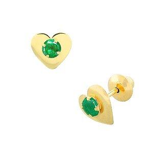 Brinco de Ouro 18K Coração com Pedra Verde Zircônia