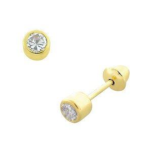 Brinco Pedra Zircônia Branca 2,5mm de Ouro 18K