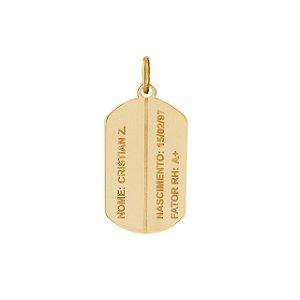 Pingente Placa Identificação em Ouro 18k