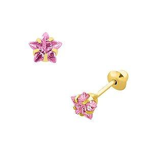 Brinco de Ouro 18K Pedra Zircônia Estrela 5x5mm Rosa