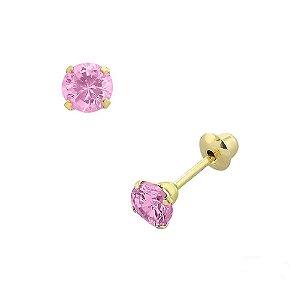 Brinco de Ouro 18K com Pedra Rosa de Zircônia 2,5 mm