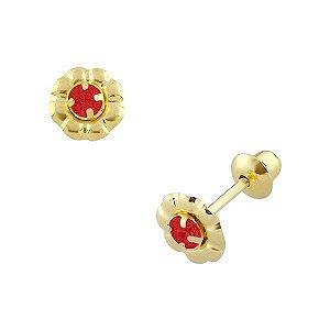 Brinco de Ouro 18K de Flor com Pedra 2mm Zircônia Vermelha