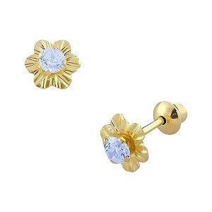 Brinco de ouro 18K Flor com Pedra de Zircônia 2,5mm Azul