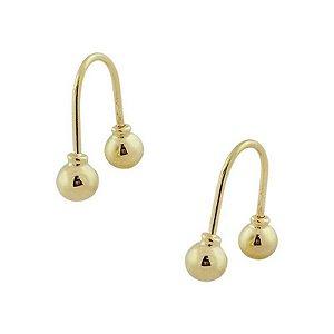 Brinco Anzol de Ouro 18K Anzol Bolinha  4,2mm