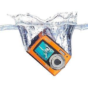 "Câmera Digital Summer NewLink CD110 16MP Laranja LCD 3,0""  LCD 1,8"" frontal à Prova d'água Gravação de Áudio"