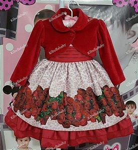 Vestido Infantil Florido com Bolero  - tam 1 ao 4