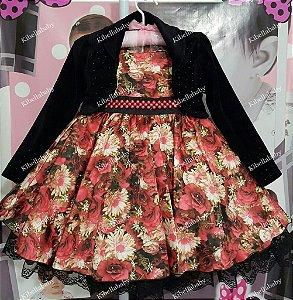 Vestido Infantil Rafaela com Bolero - tam 1 ao 4
