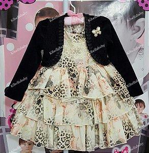 Vestido Infantil de Festa Luci com Bolero - tam 1 ao 4