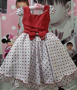 Vestido Infantil Minnie  - tam 4 ao 12
