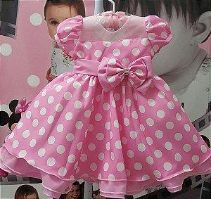 Vestido Infantil Minnie Rosa com Bolinhas Brancas - tam 1 ao 3