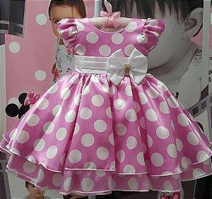 Vestido Infantil Minnie Rosa Sapequinha - tam 1 ao 3