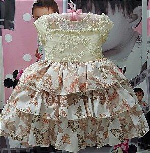 Vestido Infantil de Festa Pupila Florido - tam 1 ao 4