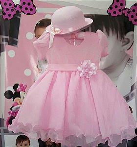 Vestido Infantil de Festa Rosa com Chapéu - tam 1 ao 3
