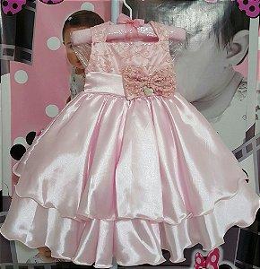 Vestido Infantil de Festa Pupila Rosa Luxo - tam 1 ao 4