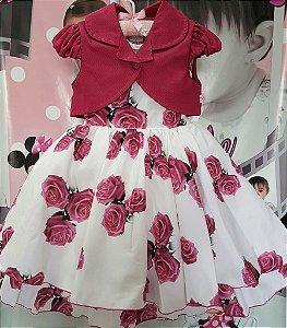 Vestido Infantil de Festa Florido com Casaquinho - tam 4 ao 12