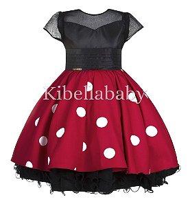 Vestido Infantil/Juvenil Minnie - tam 4 ao 8