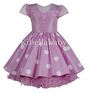 Vestido Infantil/Juvenil Minnie Rosa - tam 4 ao 8