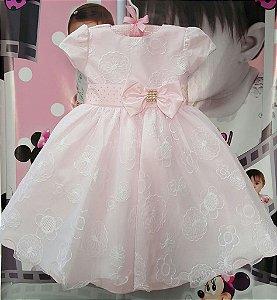 Vestido Infantil de Festa Princesas Rosa - tam 1 ao 3