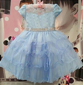 Vestido Infantil de Festa Princesa Disney Azul - tam 1 ao 3
