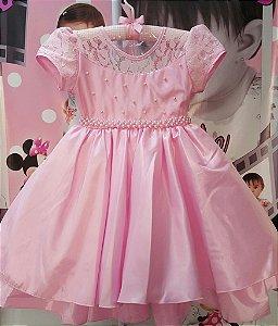 Vestido Infantil de Festa Princesas Rosa- tam 4 ao 8