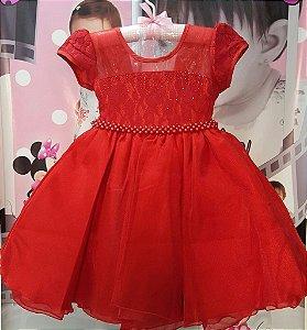 Vestido Infantil/Juvenil de Festa Princesas Vermelho Cinto de Pérolas - tam 4 ao 8