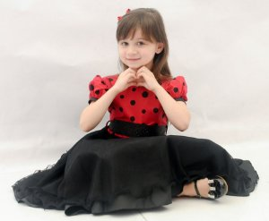 Vestido Infantil/Juvenil Minnie com Bolinhas Pretas - 4 ao 8