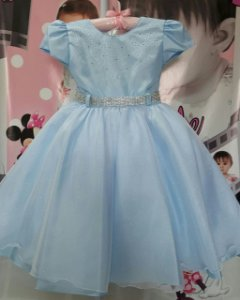 Vestido Infantil/Juvenil Princesa Azul - tam 4 ao 8
