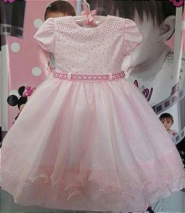 Vestido Infantil/Juvenil Princesa Rosa - tam 4 ao 8