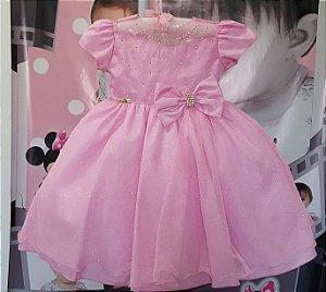 Vestido Infantil Princesa Rosa Tam: 1 ao 3