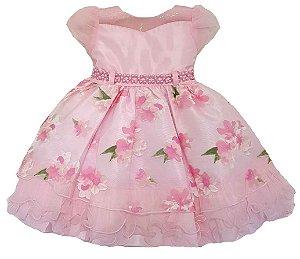 Vestido Infantil Floral com cinto em Pérolas Tam 1 ao 3