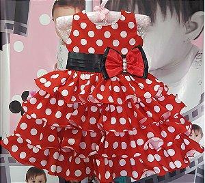 Vestido Minnie com saia de Babado Tam 1 ao 3