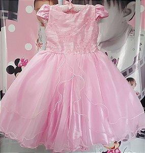 Vestido Princesa Rosa Tam 4 ao 12