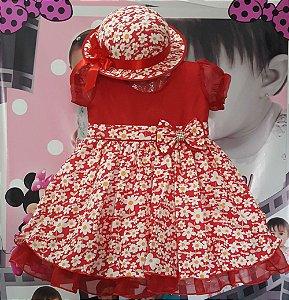 Vestido Infantil com Chapéu Tam 1 ao 3