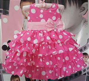 Vestido Infantil Minnie Rosa Tam 1 ao 3
