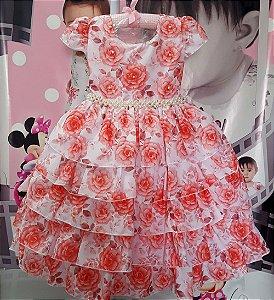 Vestido Infantil Floral com cinto de Pérolas Tam 4 ao 12