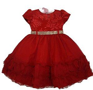 Vestido Infantil Festa Vermelho Tam 1 ao 3