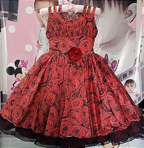 Vestido Infantil Vermelho Flores Tam 4 ao 12