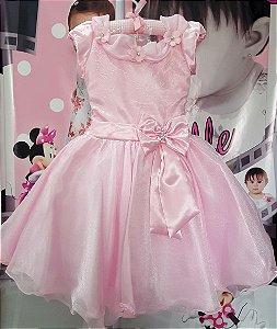 Vestido Infantil Princesa Rosa Tam 4 ao 12
