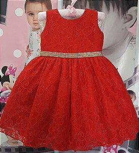 Vestido Infantil de Renda Peppa Luxo  Tam 1 ao 3