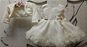 Vestido Infantil Bebê com Bolero Tam P ao G