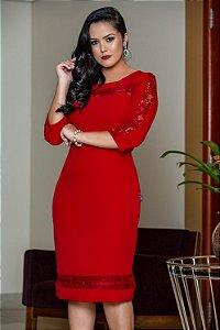 Vestido Crepe Acetinado Vermelho