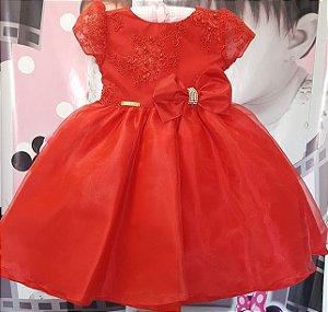 Vestido Infantil de Festa Vermelho Tam 1 ao 3