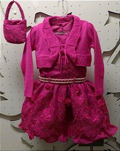 Vestido infantil de Festa com Bolero e bolsinha Tam 4 ao 12