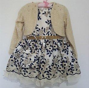 Vestido Infantil Cattai com Bolero e Bolsinha Tam 4 ao 12