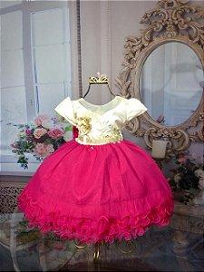 Vestido Infantil Pink e Creme Tam 1 ao 3