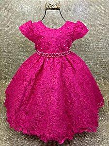 Vestido Infantil Pink renda Tam 1 ao 3