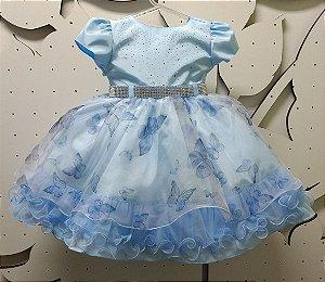 Vestido Infantil Azul Princesa Tam 1 ao 3