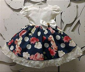Vestido Infantil Flores Tam 1 ao 3