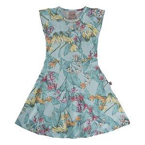 Vestido Menina Estampa Floral Com Pérola 4 ao 12