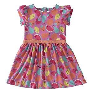 Vestido Com Estampa De Frutas Tam 1 ao 3
